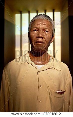 Vienna, Austria - September 2018:  Nelson Mandela Wax Figure In Madame Tussauds Museum