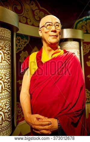 Vienna, Austria - September 2018: Dalai Lama Wax Figure In Madame Tussauds Museum