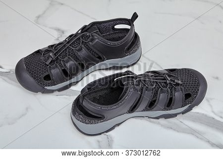 Sandals Are Quick-drying, For Boating And Hiking, Black For Men, Polyester And Synthetic Rubber, Qui