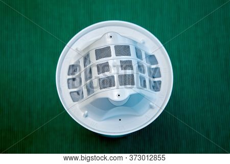 Replaceable Filter Element For A Jug, Top View, On A Green Background. Drinking Tap Water Purifier.