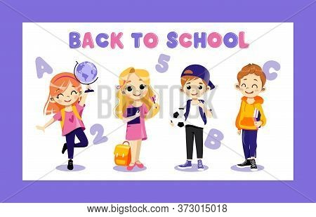 Concept Of Back To School. Kids Ready To Study In New Academic Year. Happy Classmates Boys And Girls
