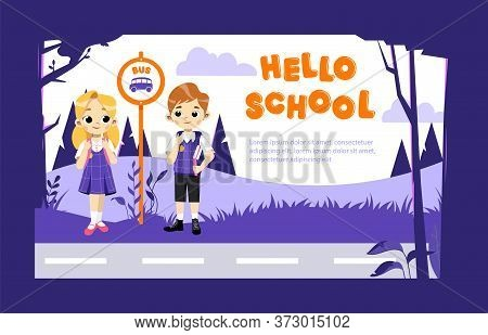 Concept Of Back To School. Kids Ready To Study In New Academic Year. Happy Classmates In Stylish Sch