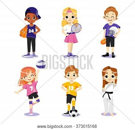 Concept Of Athletics. Multi Ethnic Teens Set. Different Type Of Sports. Children In Uniform Play Bas