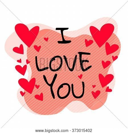 Stock Vector Illustration Of Romantic Banner With Hand Drawn Lettering Font. I Love You. Typography