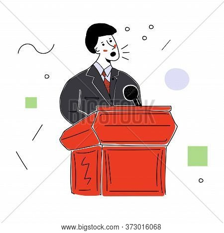 A Man In A Business Suit Behind The Podium Makes A Speech. Vector Illustration With Contour In Hand