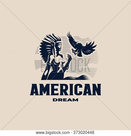 A Native American Woman With A Feather Headdress. Roach On The Head. Against The Background Of The M