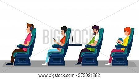 Passengers Seating In Seats On White Background