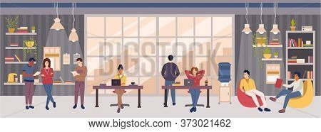 Open Space Office Or Co-working Center Interior Design Concept With People.multicultural Group Of Em