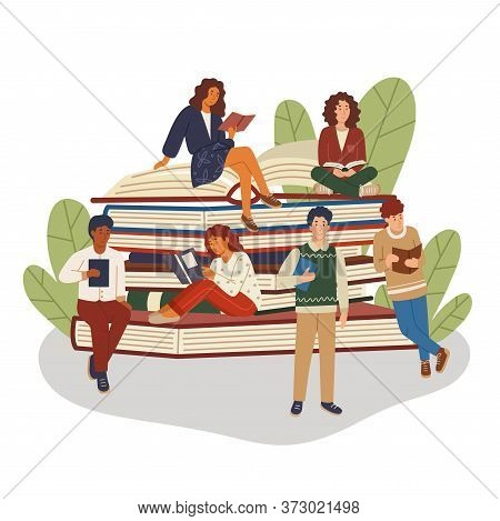 Pile Or Stack Of Books With Multicultural Group Of People. Girls And Boys Book Lovers. Students Stud