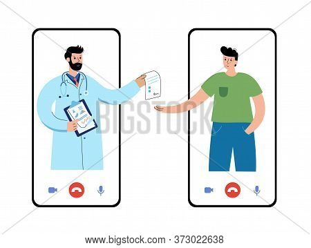 Pharmacist Or Doctor Gives Prescription To A Happy Guy Via An Application On Phone. Flat Vector Illu