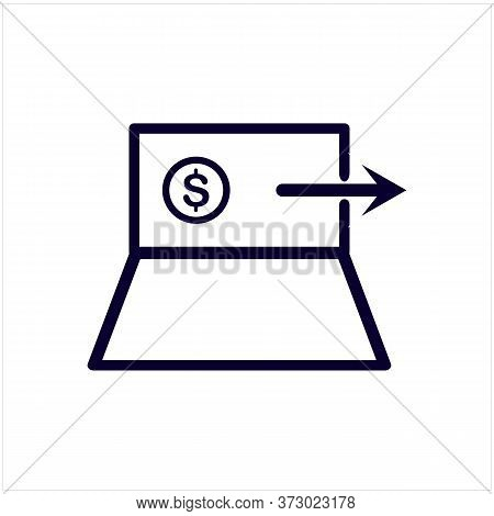 The Laptop Is A Money Transfer Icon Vector. The Laptop Is A Money Transfer Sign. Isolated Contour Sy
