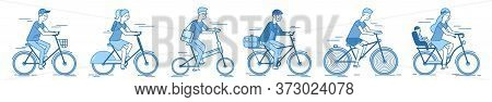 Cyclist Set. People Cyclist Set Isolated On White Background. Man And Woman. Mother With Child On Bi