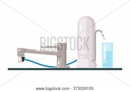 Water Filter. Modern Tap Water Filter Isolated On White Background. Vector Home Filtration And Purif