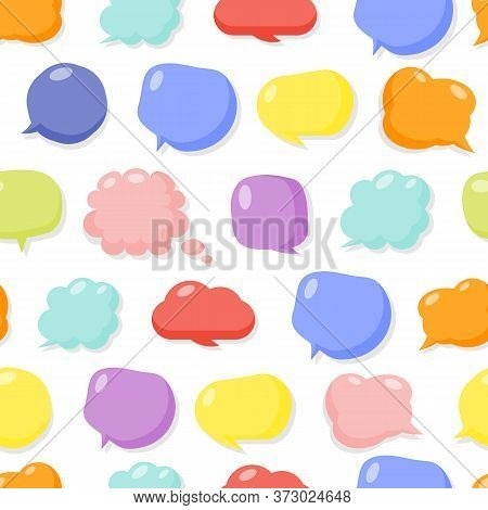 Colored Speech Soap Bubble Seamless Pattern. Limitless Background Flat Cartoon Message Sign. Glossy