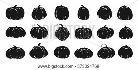 Set Of Autumn Pumpkin Glyph Icons With White Line. Symbol Thanksgiving And Halloween Of Holiday In O