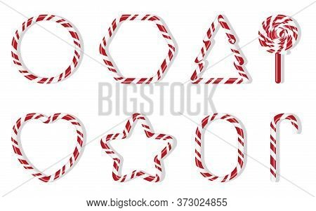 Christmas Candies With Different Shape Spiral Pattern Set. Red And White Treat Holiday Winter. Sweet