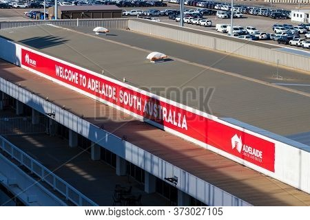 Adelaide, Australia - March 7, 2020: The Welcome Banner At The Cruise Terminal Of Adelaide, Australi