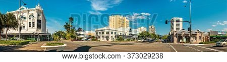 Cairns, Australia - Febreaury 13, 2020: Panoramic View Of The Lake St. And Spence St. At The Cairns
