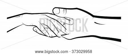 Man Holds A Womans Hand In His Palm. Marriage, Family, Wedding Ceremony. Isolated Eyelid On A White