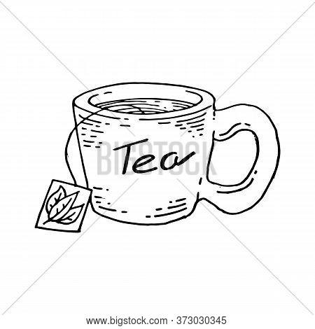 Mug Of Tea Icon. Vector Illustration Of A Tea Mug With Tea Inscription. Hand Drawn Mug With A Bag Of