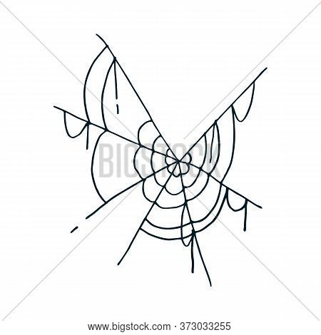Web Icon. Vector Illustration Of A Spider Web. Net, Web Spider Hand Drawn.