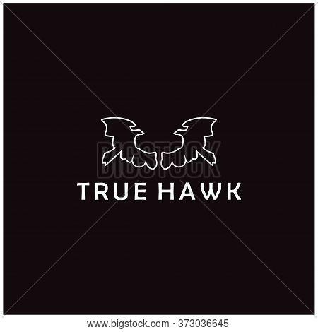 Elegant Eagle Hawk Falcon Logo Design With Simple Line Art Style