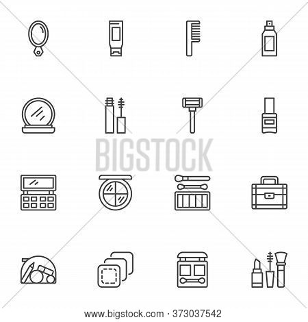 Makeup Line Icons Set, Outline Vector Symbol Collection, Cosmetic And Beauty Linear Style Pictogram