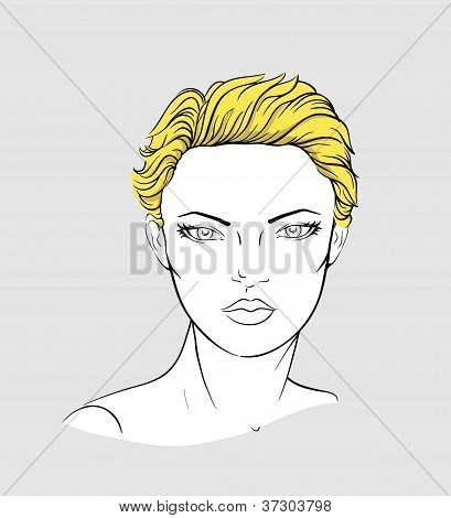 Face of blonde woman with short haircut
