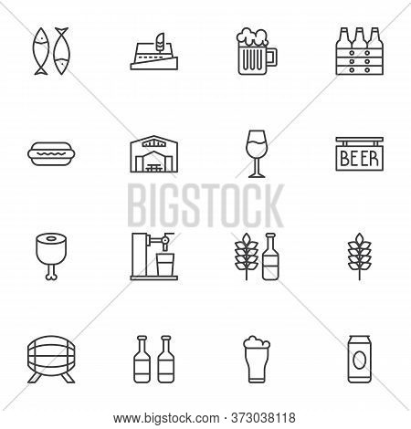 Oktoberfest Beer Line Icons Set, Outline Vector Symbol Collection, Beer Festival Linear Style Pictog