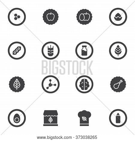 Natural Organic Food Vector Icons Set, Modern Solid Symbol Collection, Filled Style Pictogram Pack.