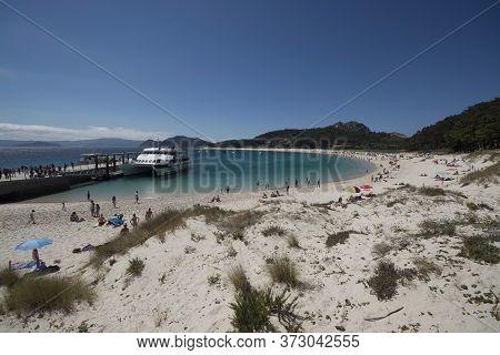 Pier And Main Beach Of The Cies Islands Near Vigo, Galicia, Spain