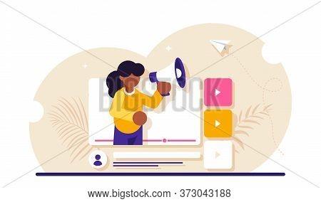 Social Video Marketing Concept. Online Advertisement, Internet Promotion, Digital Ad Or Promo. Woman
