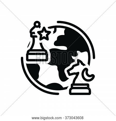 Black Solid Icon For Geopolitics Chess Globe Business Checkmate Geopolitical Politics
