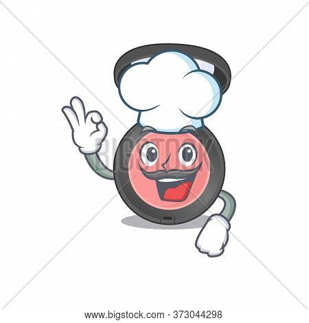 Pink Blusher Chef Cartoon Drawing Style Wearing Iconic Chef Hat