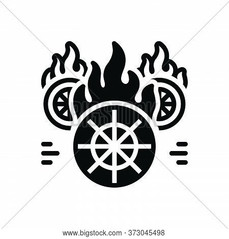 Black Solid Icon For Hotwheels Fire Burning Wheel Fire-starter Fire-brigade Speed Flame