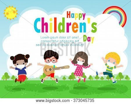 Happy Children Day For New Normal Lifestyle Concept Template For Advertising Brochure Or Poster Flye