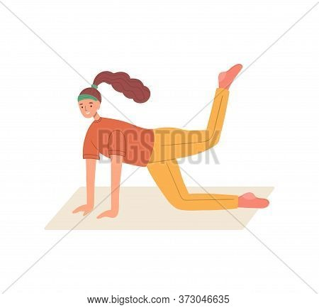 Funny Woman Dressed In Sports Clothes Doing Exercises. Pose For Development Of Muscle Flexibility An