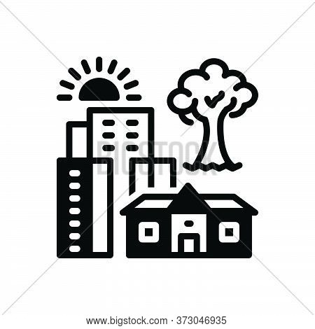 Black Solid Icon For Hometown City Building Tree House Residential Architecture