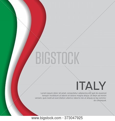 Abstract Waving Italy Flag. Paper Cut Style. Creative Background In Italy Flag Colors For Holiday Ca