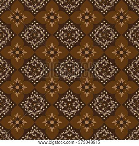 Abstrack Pattern On Traditional Parang Batik With Elegant Dark Brown Color Design
