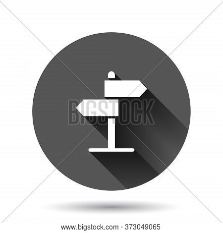Crossroad Signpost Icon In Flat Style. Road Direction Vector Illustration On Black Round Background
