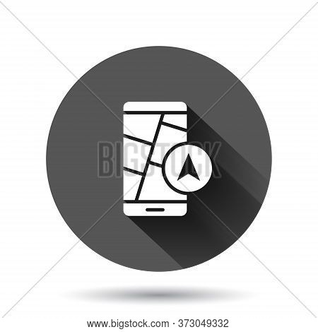 Smartphone Map Icon In Flat Style. Mobile Phone Gps Navigation Vector Illustration On Black Round Ba
