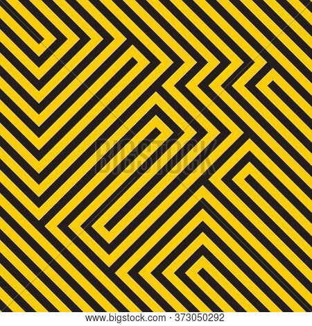 Optical Illusion Diagonal Black And Yellow Pattern, Modern Op Art Geometric Abstract Background. Vec
