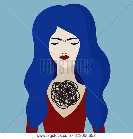 Unhappy Girl, Borderline Personality Disorder, Sad Woman With Psychological Problems. Vector Charact