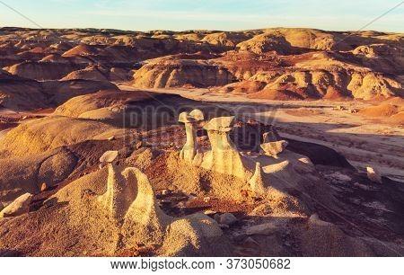 Bisti badlands, De-na-zin wilderness area, New Mexico, USA. Fantastic unusual landscapes.