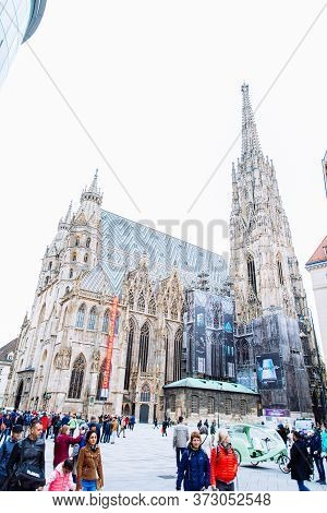 Vienna, Austria - May 16, 2019: View Of Stephen Cathedral Church In Old City Center