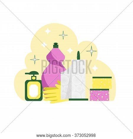 Kitchen Cleaning. Vector Image Of A Set Of Cleaning Products And Appliances For Cleaning The Kitchen