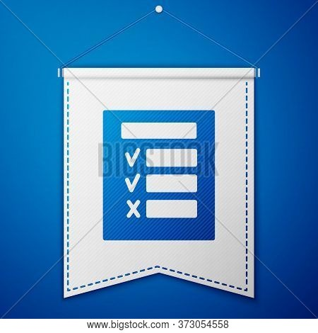 Blue Car Inspection Icon Isolated On Blue Background. Car Service. White Pennant Template. Vector Il