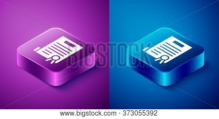 Isometric Declaration Of Independence Icon Isolated On Blue And Purple Background. Square Button. Ve