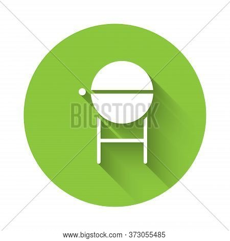 White Barbecue Grill Icon Isolated With Long Shadow. Bbq Grill Party. Green Circle Button. Vector Il